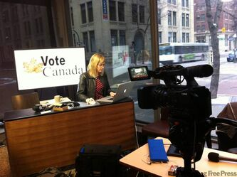 Reporter Tania Kohut prepares Sunday night for tonight's live election coverage. The live streaming video and live blog will begin at 8 p.m.